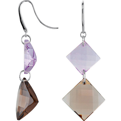 Adorable Multicolored Dangle Earrings With 42.78ct 12-15mm Square Shape Rose De France & Smokey Quartz - Sterling Silver