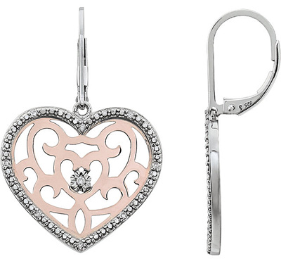 Adorable Rose Plated Sterling Silver Heart Leverback Dangle Earrings - 18 Diamond Accents - .1 cts 1.00 - 1.20 mm - SOLD