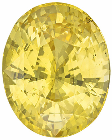 AGL Certified No Heat 8.6 carats Yellow Sapphire Loose Gemstone in Oval Cut, Medium Yellow, 13.3 x 10.7 mm