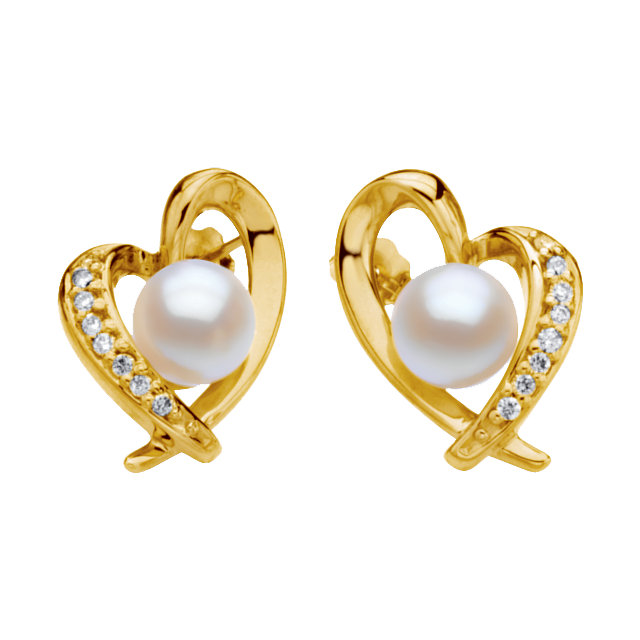 Beautiful Akoya Cultured Pearl & Diamond Heart Earrings