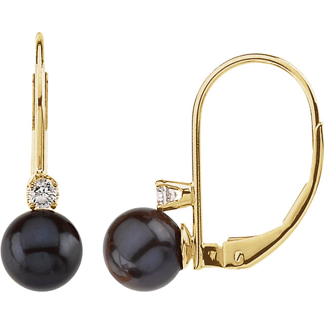 Gorgeous Akoya Cultured Pearl & Diamond Lever Back Earring