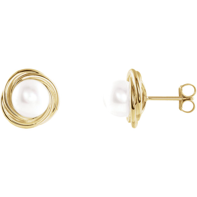 Surprise Her with  14 Karat Yellow Gold Pearl Earrings