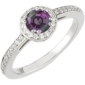 Alexandrite White Gold Ring with Unique 8 Prong set with 0.25 ct 4.00 mm GEM Grade Alexandrite & Diamonds in 14 KT