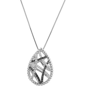 Alluring 1/3ct Black and White Diamond Pear Shape 14k White Gold Pendant with Black Rhodium Plating - FREE Chain Included