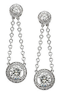 Alluring 14k White Gold Dangling Earrings Featuring 2.42ct 3.25-7mm Round Created Moissanite & Diamond Accents