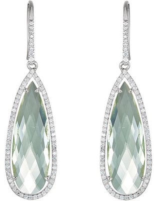 Alluring 27.9ct 30x10mm Pear Shape Green Quartz Diamond Accent Halo Framed Earrings for SALE - Sterling Silver