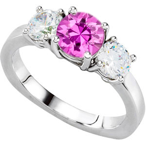 Alluring 3-Stone Engagement Ring With 1 carat 6mm Round Pink Sapphire Center & Round Diamond Side Gems