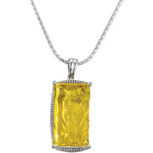 Alluring 30ct 28x16mm Rectangle Green Gold Quartz Pendant - Sterling Silver Braided Accent - for SALE - FREE Chain Included - SOLD