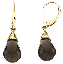 Alluring 8.6ct 12x8mm Smoky Quartz Checkerboard Briolette Lever-Back Earrings set in 14 karat Yellow Gold