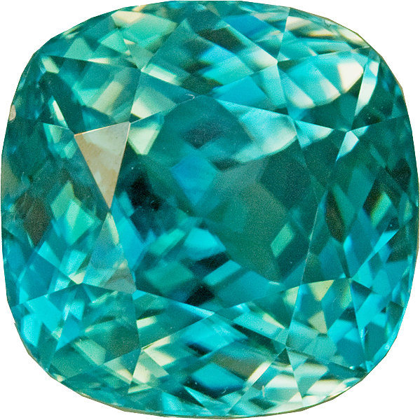 Alluring Blue Zircon Loose Gem in Antique Cushion Cut, 10.6 mm, 9.82 carats