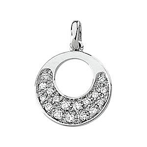 Alluring Circle Pendant With a Crescent of .17ct Diamond Accents in 14k White Gold - FREE Chain