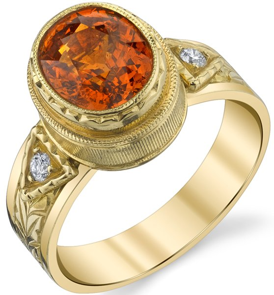 Alluring Hand Made Bezel Set Oval Shape 3.52ct Spessartite Garnet Ring in 18kt Yellow Gold - Diamond Accents