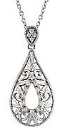 Alluring Open Pear Shape Sterling Silver Pendant With Filigree Detailing and 1/10ct Diamond Accents - FREE Chain Included With Pendant