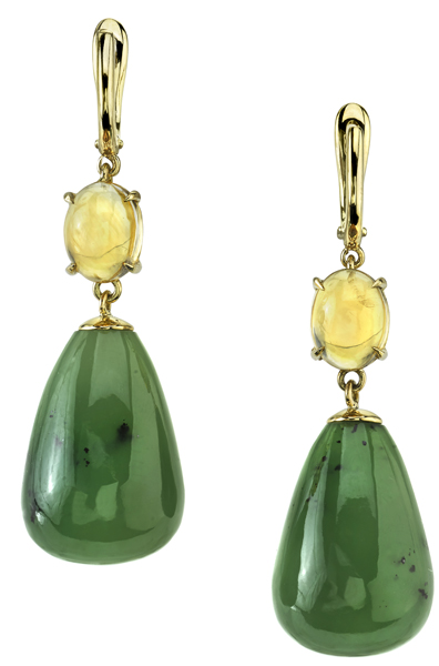 Alluring Oval Cabochon Citrine & Drop Shape Jade Handcrafted Dangle Earrings in 18kt Yellow Gold