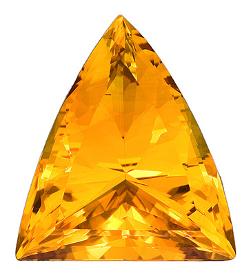 Alluring Rare Shape Medium Yellow Citrine Gemstone for SALE, Trillion Cut, 29.45 carats
