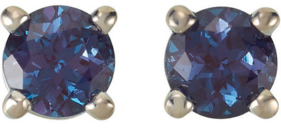 Alluring Round GEM Grade Chatham Created Alexandrite Gemstone Studs June Birthstone Earrings for SALE - 14kt White or Yellow Gold - Choose Stone Size