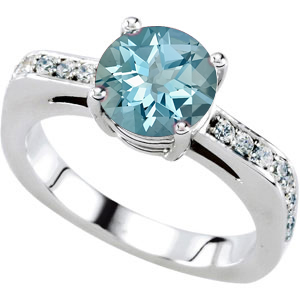 Alluring Solitaire Engagement Ring With Genuine 1.25 carat 7mm Deep Blue Aquamarine Round Centergem - 18 Diamond Accents in Band