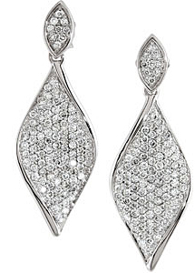 Amazing 1.20 carat total weight 1.10 mm Diamond Earrings skillfully set in 14 karat White Gold for SALE