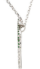 Amazing 1.25mm Tsavorite Garnet and .08 ct tw Diamond Palm Tree Necklace skillfully set in 14 karat White Gold