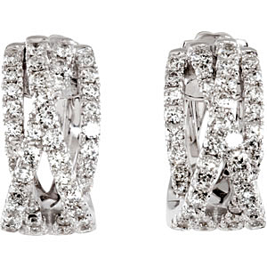 Amazing 1.40 carat total weight 1.00 mm Diamond Earrings skillfully set in 14 karat White Gold for SALE
