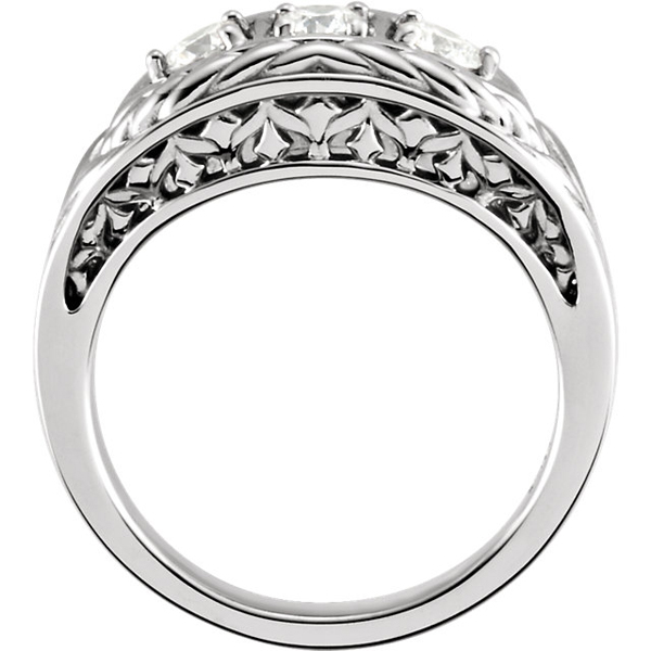 Amazing 14k Gold 3.40 mm 1/2 Ct Diamond 3-Stone Ring With Chunky Band & Woven Detailing - Metal Type Options