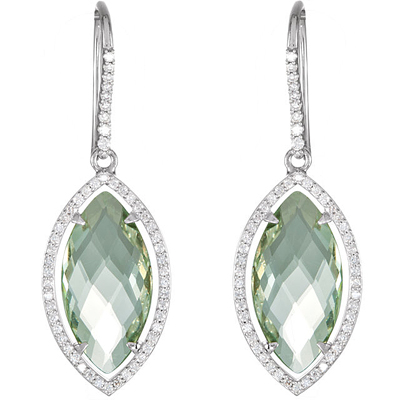Amazing 16.8ct 20x10mm Double Sided Checkerboard Marquise Shape Green Quartz in Sterling Silver Wire Back Earrings for SALE