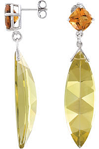 Amazing 18.25ct 37x12mm Marquise Shaped Lime Quartz & Citrine Earrings skillfully set in Sterling Silver for SALE - SOLD