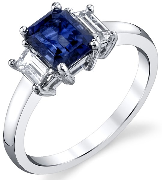 Amazing 18kt White Gold 3-Stone Ring With 1.49ct Emerald Cut Blue Sapphire & Emerald Diamond Sidegems