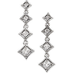 Amazing 3/4 carat Journey Diamond Earrings in Your Choice of White or Yellow Gold - Cascading Princess Cut Diamonds