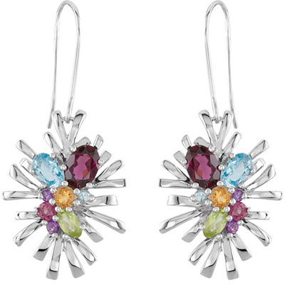 Amazing 4.35ct Sterling Silver Color Burst Earrings With Amethyst, Aquamarine, Citrine, Garnet, Peridot and Topaz Gemstones - SOLD