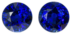 Amazing 6.4 mm Ceylon Fine Blue Sapphire Matched Pair - Vibrant Rich Blue - Well Cut, Round Cut, 3.01 carats