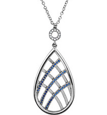 Amazing .6ct Pear Shape Platinum Pendant With Curved 1mm Blue Sapphire Detailing and White Sapphire Accents - FREE Chain With Pendant