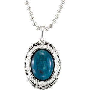 Amazing 7.45 ct 15x11mm Oval Opaque Apatite Pendant for SALE - Unique Sterling Silver Detailing - FREE Chain - SOLD