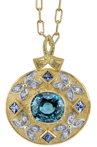 Amazing 8.09ct Cushion Blue Zircon Handcrafted 18kt Yellow Gold Pendant - Princess Cut Sapphire & Diamond Accents