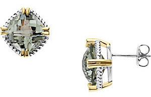 Amazing 8.5ct 10mm Antique Square Green Quartz Stud Earrings set in Sterling Silver and 14 karat Yellow Gold