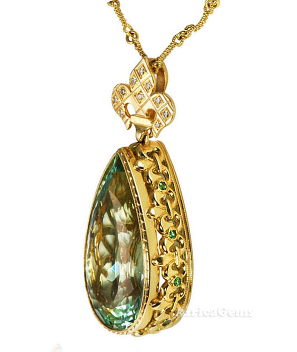 Amazing Beautiful Seafoam Green Tourmaline With Fleur-De-Lis Motif  - SOLD