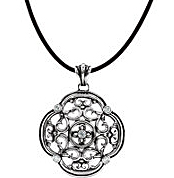Amazing Clover Shape Filigree Fashion Pendant With 5 Diamond Accents in Sterling Silver for SALE - FREE Chain Included With Pendant