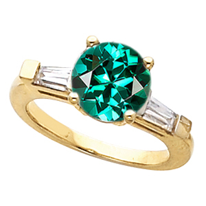 Amazing Color Pop! - Round Blue Green Tourmaline Gemstone Engagement Ring With Diamond Baguette Side Gems - SOLD