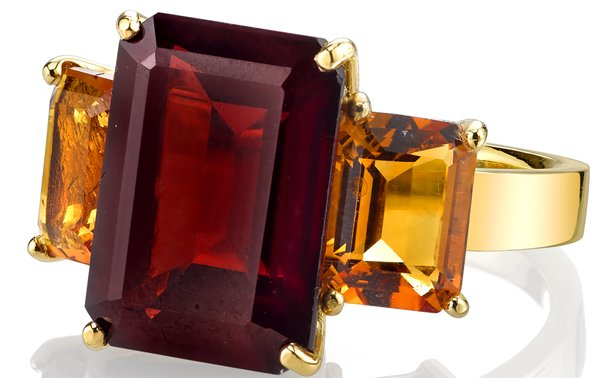 Amazing Designer 3-Stone Emerald Cut Garnet Ring & Citrine Ring in 18kt Yellow Gold