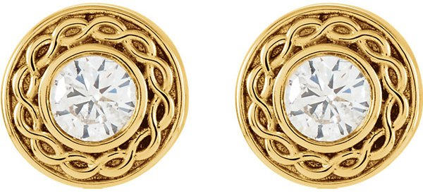 Amazing Diamond Stud Solitaire Earrings With Decorative Twisted Rope Style Gold Frames  - .2ct tw