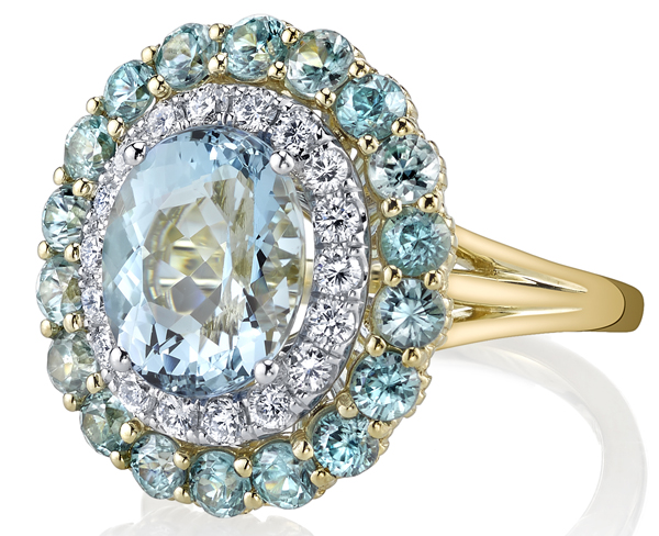 Amazing Handmade 3.37ct Oval Aquamarine Ring with Diamond & Blue Zircon Double Halo - 18kt Yellow Gold