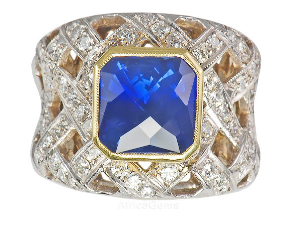 Amazing Handmade Basket Weave Style Blue Sapphire and Diamond Classic Handmade Custom Ring - SOLD