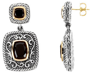 Amazing Onyx Earrings set in Sterling Silver and 14 karat Yellow Gold - Gorgeous Old World Style - SOLD
