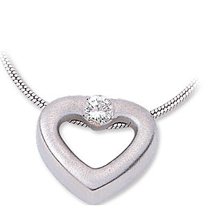 Amazing Platinum Heart Shaped Slide Pendant With a Single 3mm 1/10ct Diamond Accent - FREE Chain - SOLD