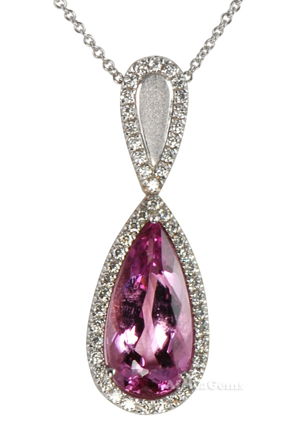 Amazing Quality Deep Pear Cut Pink Topaz & Diamond Designer Pendant by Christoph - 18 kt White Gold - SOLD