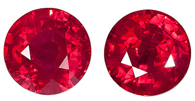 Amazing  Red Ruby Gemstones Pair in 6.40mm Size - Excellent Life & Cut, Well Matched Pair, Round Cut, 2.64 carats