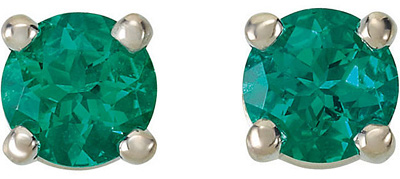 Amazing Round GEM Grade Chatham Created Emerald Gemstone Stud May Birthstone Earrings for SALE - 14k White or Yellow Gold - Choose Size