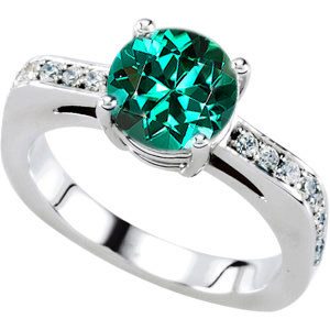 Amazing Solitaire Engagement Ring With Genuine Blue Green Tourmaline Round Centergem - 18 Diamond Accents in Band - SOLD