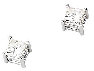 Amazing Square Created Moissanite Stud Earrings With Light Weight Wire Basket Settings - Metal Type and Stone Style Options