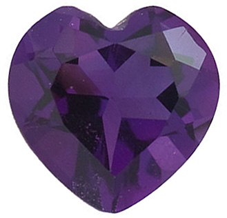 Loose Gem Amethyst Gem in Heart Shape Grade AAA 6.00 mm in Size 0.68 carats